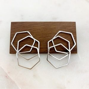 Hexagon Layered Earrings Silver